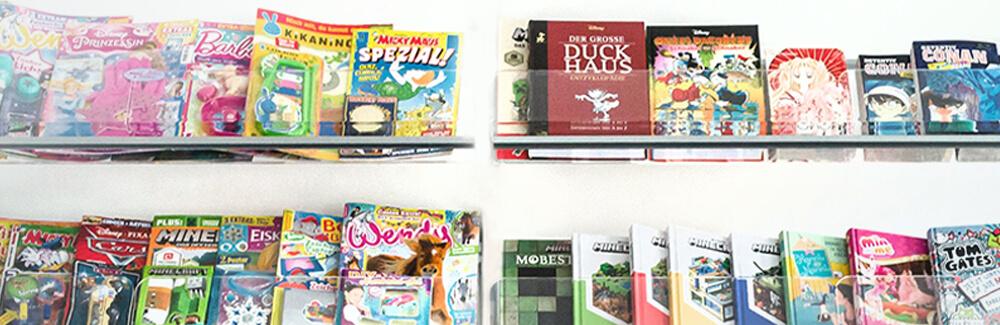 Diverse Magazine von Egmont Publishing im Regal aufgestellt