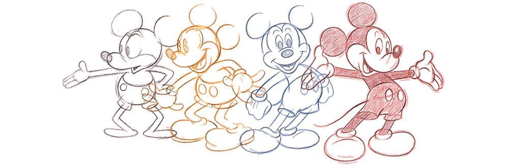 Micky Maus gezeichnet in vier verschiedenen Posen und Farben