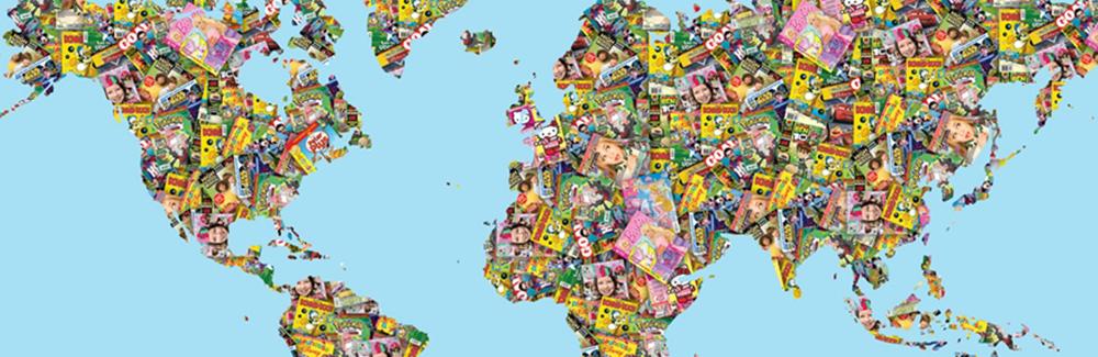 Die Collage einer Weltkartee gestaltet mit Magazinen aus dem Verlag Egmont Publishing