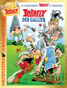 Cover der Jubliläumsausgabe Asterix der Gallier mit Goldrand und Sonder-Logo 50 Jahre Asterix in Deutschland