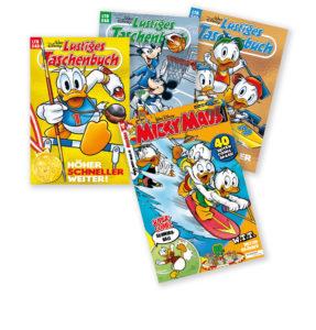 Cover des Lustiges Taschenbuchs 548 Höher, schneller, weiter! und des Micky Maus Magazins Nummer 16/21